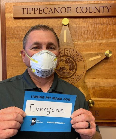 Bob Goldsmith Tippecanoe County Sheriff with a face mask