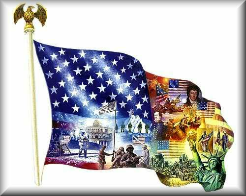 Very Patriotic Flag With Images of Historic American Flags, Statue of Liberty, and Historic Events