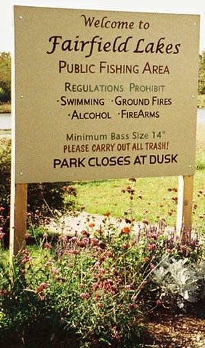 Fairfield Lakes Sign with Regulation and Hours of Operation
