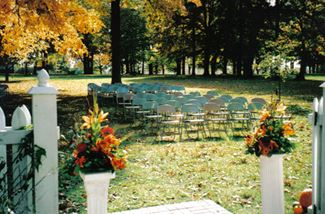 Chairs Set up for an Event Outside the Chapel