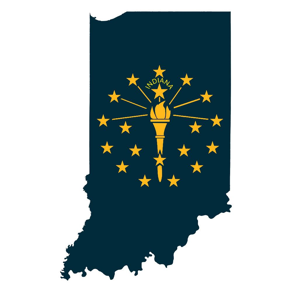State of Indiana outline with the torch in blue and gold