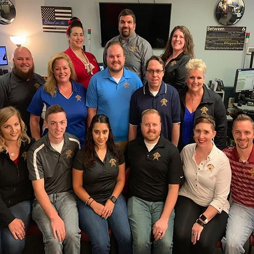 Photo of 911 dispatch team at Tippecanoe County Sheriff