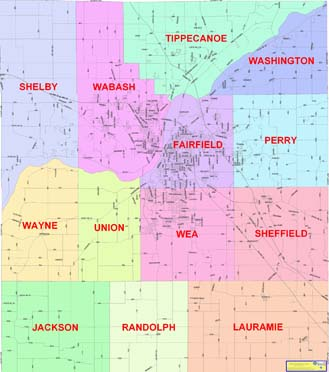 A Township Map image linking to a full size map of Tippecanoe County Townships